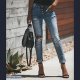 High Waist Button Fly Skinny Ripped Denim Jeans - S - 200000361