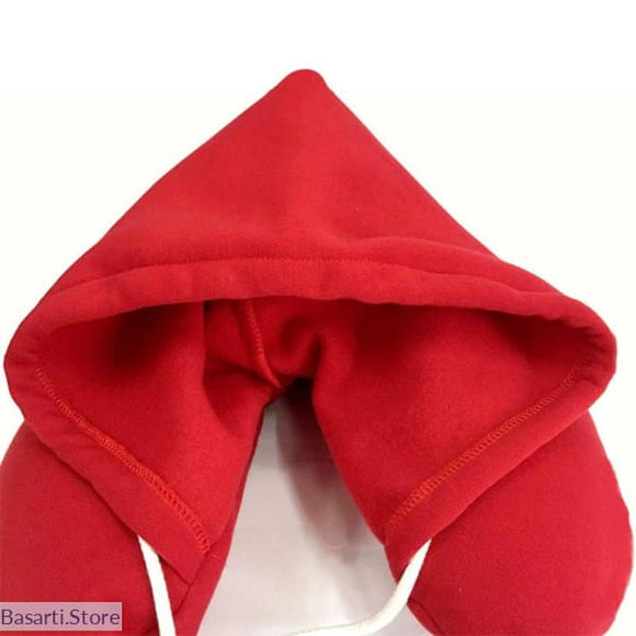 Hooded U-Shaped Pillow Cushion - Red - 40603