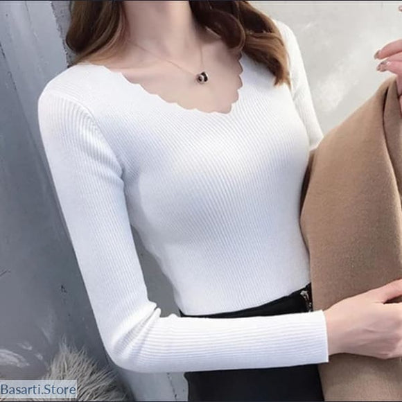 Knitted Cotton Wave Collar Pullover Elastic One Size and in 7 Colors - 200000373