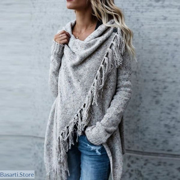 Knitted Warm Long Sleeve Tassel Fringe Cardigan Sweater - 200000373