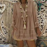 Lace Casual V-Neck Long Sleeve Blouse in 5 Colors and Sizes S-5XL - S / Khaki - 200000346