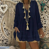 Lace Casual V-Neck Long Sleeve Blouse in 5 Colors and Sizes S-5XL - S / Navy Blue - 200000346