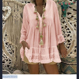 Lace Casual V-Neck Long Sleeve Blouse in 5 Colors and Sizes S-5XL - S / Pink - 200000346