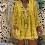 Lace Casual V-Neck Long Sleeve Blouse in 5 Colors and Sizes S-5XL - S / Yellow - 200000346