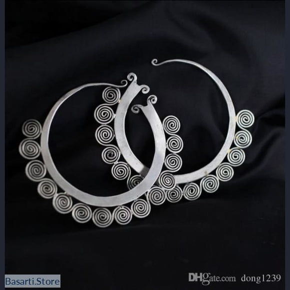 Large Handmade Tribal Circle Earrings in Miao Silver - Tribal earrings