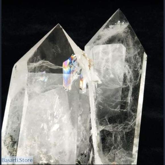 Large Lodolite Crystal Quartz in a Twin Flame Formation with Rainbow Inclusion - Lodolite Crystal