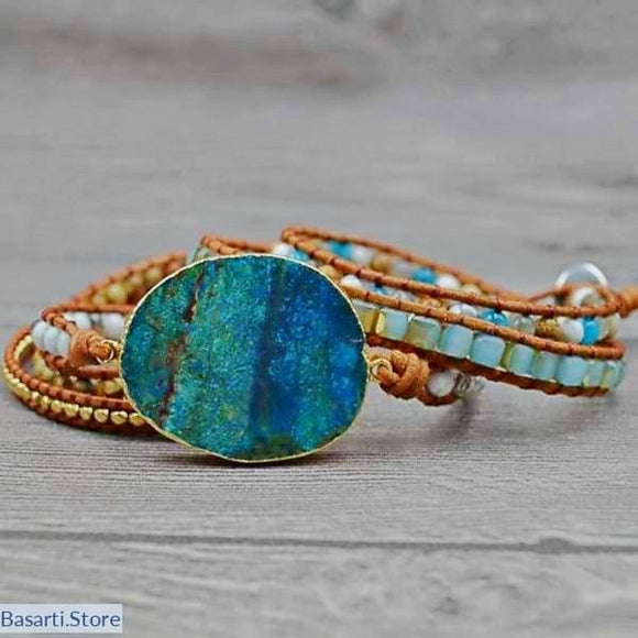 Leather 5 Wrap Bracelet with Huge Ocean Stone - Leather Wrap Bracelet with Huge Ocean Stone