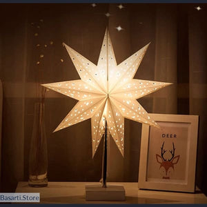 Led Star Desk Lamp Wood Base Night Lights