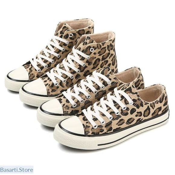 Leopard Print Lace-Up Canvas Sneaker - women shoes