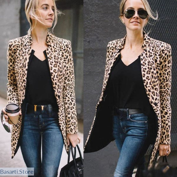 Leopard Print Medium Weight Womens Jacket - 200000801