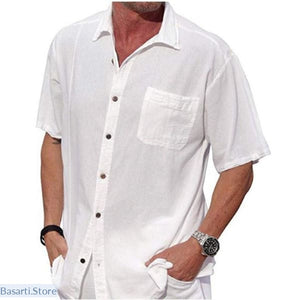 Linen Mens Short Sleeve Casual Loose Shirt Plus Size - L / White