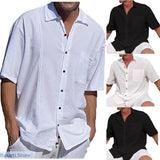 Linen Mens Short Sleeve Casual Loose Shirt Plus Size