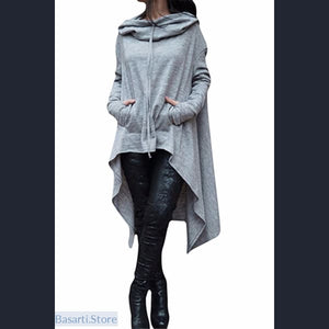 Long Loose Casual Pullover Hoodie in 4 Colors and Sizes S-5XL - S / Gray - 200000348