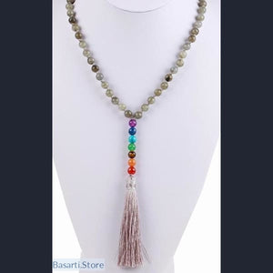 Long Necklace with Silk Tassel and 7 Chakra Pendant (option: Spectrolite/Labradorite or Amethyst) - Jewelry Necklace Mala