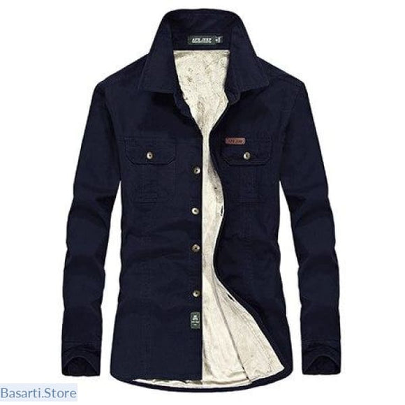 Long Sleeve Cool Weather Flannel and Thick Fleece Shirt - 4XL / Navy - 348