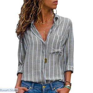 Long Sleeve Loose V-neck Button-up Blouse (S -2XL) - Grey / S - Long Sleeve Loose V-neck Button-up Blouse (S -2XL)