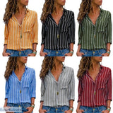 Long Sleeve Loose V-neck Button-up Blouse (S -2XL) - Long Sleeve Loose V-neck Button-up Blouse (S -2XL)