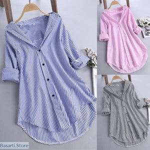 Long Sleeve Turn-Down Collar Striped Blouse S-5XL - 200000346