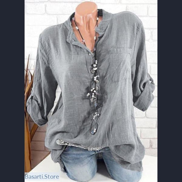Long Sleeve V-Neck Womens Shirt 4 Colors Sizes S-5XL - 200000346