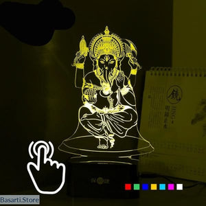 Lord Ganesha LED RGB Touch Table Lamp 7 Colors USB 3d Nightlight