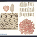 Love Chakra Crystal Healing Grids Kit / Includes Grids Altar Cloth and Rose Quartz Stones Set - Crystal Grid