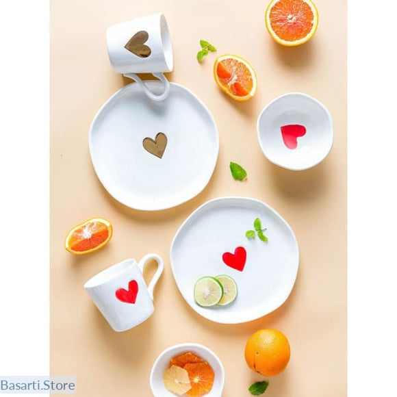 Love Heart Hand Painted Ceramic Dinnerware - 100003310