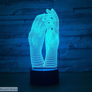 Love.. Two Hands Beautiful 3D Visual Illusion LED Night Light USB Operated - Gadge 3D lamp Hands