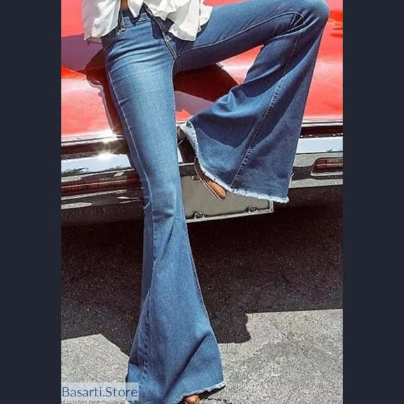 Low Waist Elastic Flare Bell Bottom Skinny Jeans - 200000366