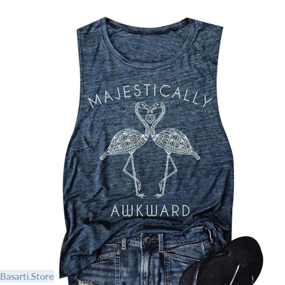 Majestically Awkward Flamingo Sleeveless Casual Tank-Top - 200000790