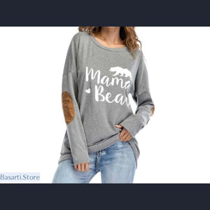 Mama Bear Elbow Patch Loose Top T-Shirt - L / Gray - 200000791