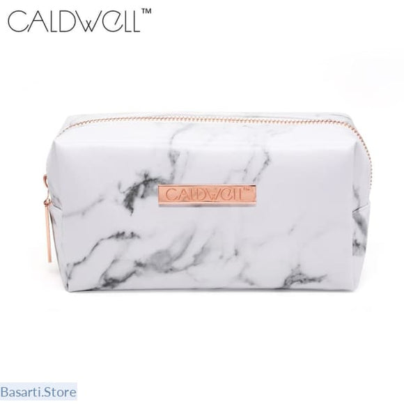 Marble PU Leather Cosmetic Zipper Storage Bag - 152407