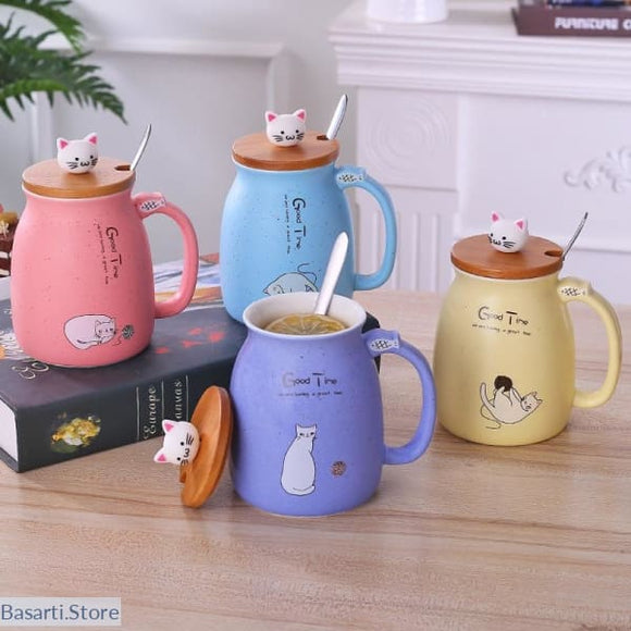 Matte Color Ceramic Mug With Lid Spoon - 100003290