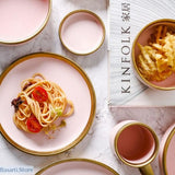 Matte Pink Ceramic with Powder Gold Border - European Style Tableware - Matte Pink and Gold Tableware