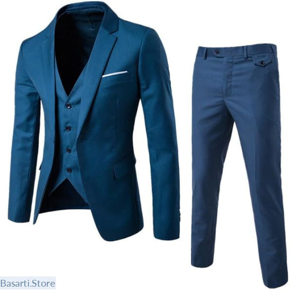 Mens 3 Piece Elegant Suit With Pants - S / Sea Blue - 200001823