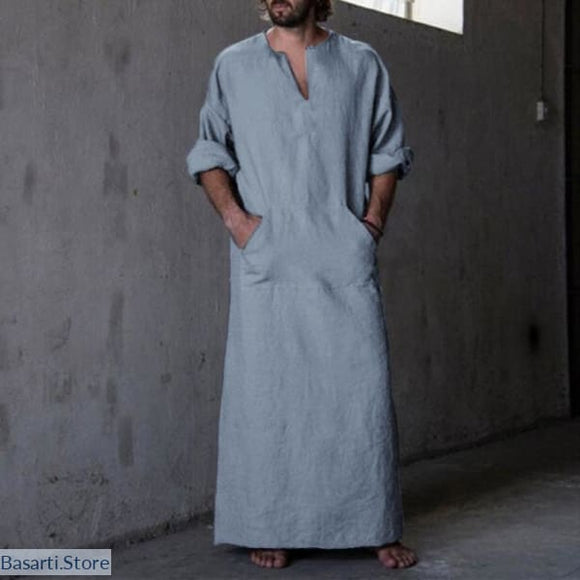 Mens Kaftan Long Sleeve Robe 100% Cotton - Men Kaftan