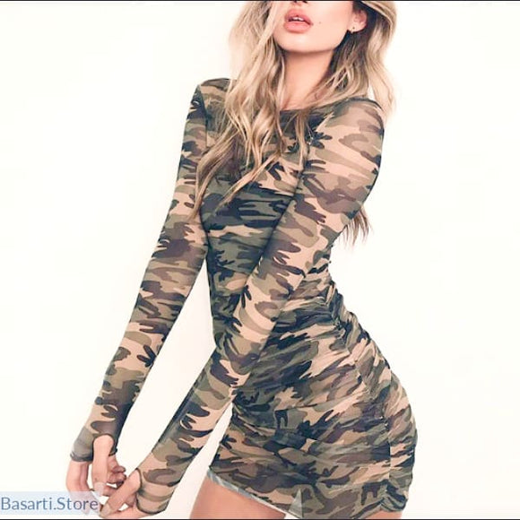 Mesh Camouflage Mini Dress (or long shirt) with Long Sleeves - L - Mesh Camouflage Mini Dress