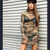 Mesh Camouflage Mini Dress (or long shirt) with Long Sleeves - Mesh Camouflage Mini Dress