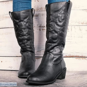 Mid-Calf Winter PU Leather Square Heel Boots - 200000998
