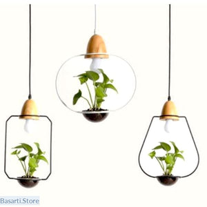 Minimalist Design Iron Wooden Garden Pendant Light - Garden Pendant Light