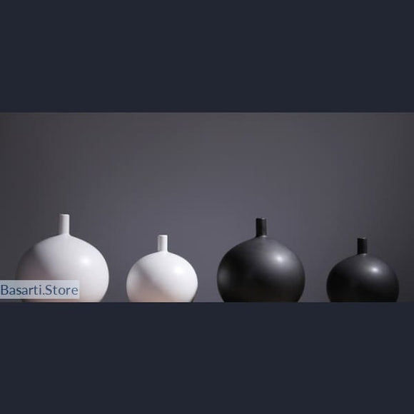 Minimalist Style Black and White Matte Vase - Black and White Matte Vase