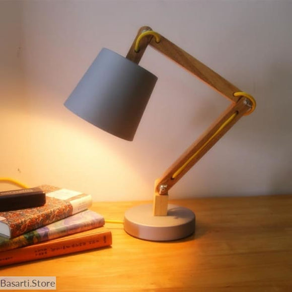 Modern Solid Wood Table Lamp with Swing Arm - 39050509