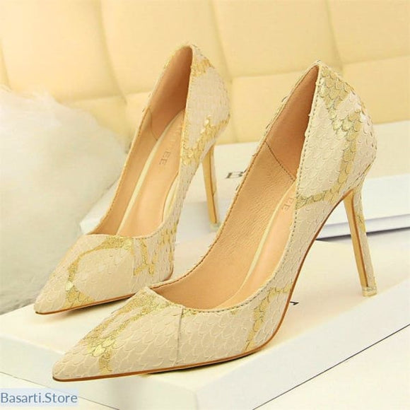 Narrow Snake Skin Shallow High Heels Shoes - 4.5 / Khaki - women shoes