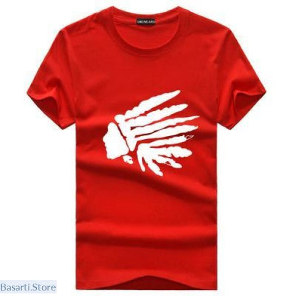 Native American Cotton T-Shirt in 4 Colors - S / Red - 200000783