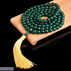 Natural 108 Green Agate Beads Handmade Green Tara Mala - Necklace - Jewelry Mala Necklace