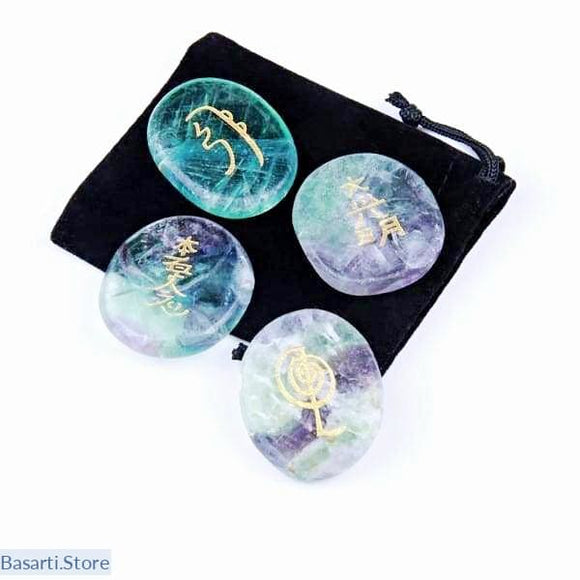 Natural 4pcs Natural Rainbow Fluorite Crystal Engraved with Usui Master Reiki Symbol - 4pcsset - Crystal USUI engraved Fluorite
