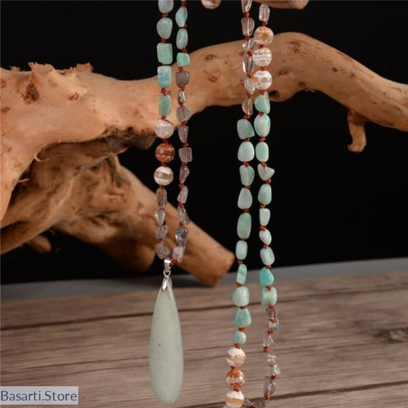 Natural Amazonite Onyx and Labradorite Natural Gemstone Pendant Necklace - Labradorite Mala 108