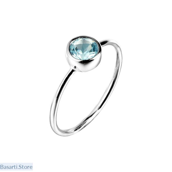 Natural Blue Topaz Gemstone .925 Sterling Silver Rings - Fine Jewelry ring small topaz
