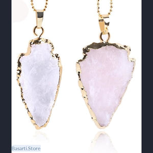 Natural Crystal Quartz Arrowhead Pendant Necklaces - Rose Quartz - Jewelry Necklace Pendant