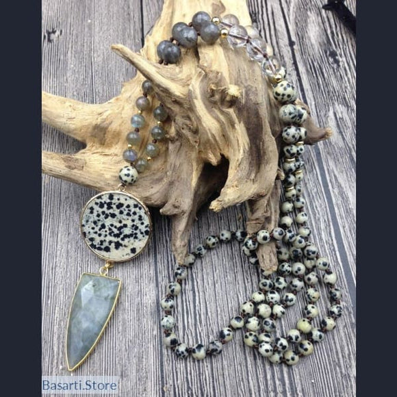 Natural Dalmatian Jasper and Labradorite Quartz Beads Hand-knotted Necklace Mala Style with Large - Jewelry Mala Necklace