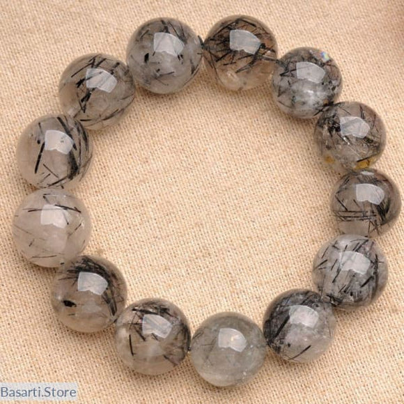 Natural Fidelity Black Quartz Crystal Rutilated Bracelet - 200000147